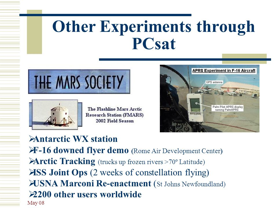 Other Experiments through PCsat