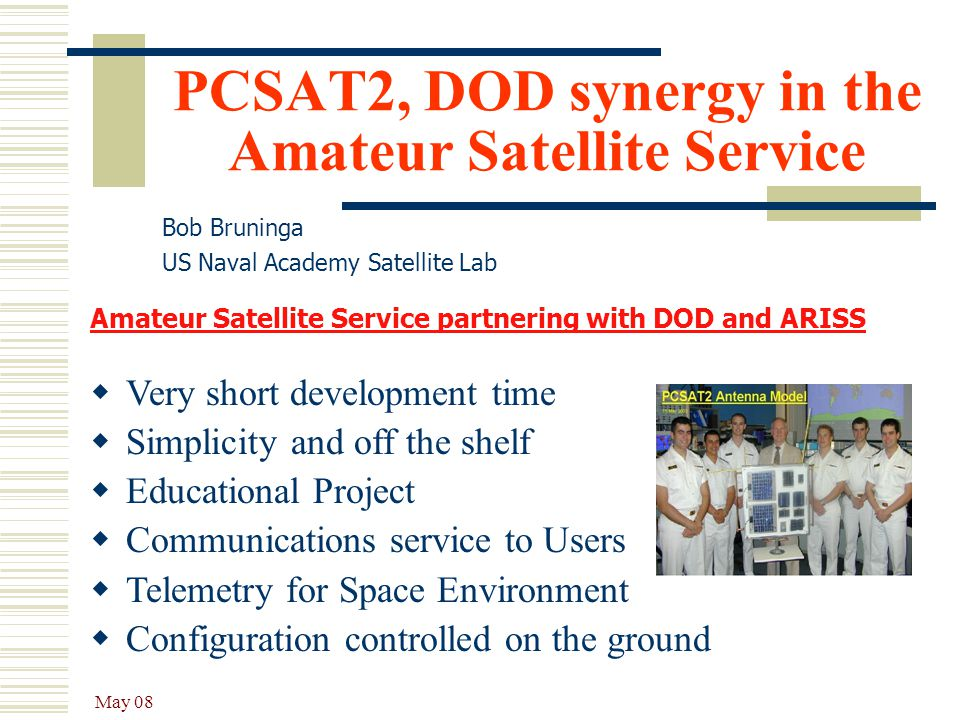 PCSAT2, DOD synergy in the Amateur Satellite Service