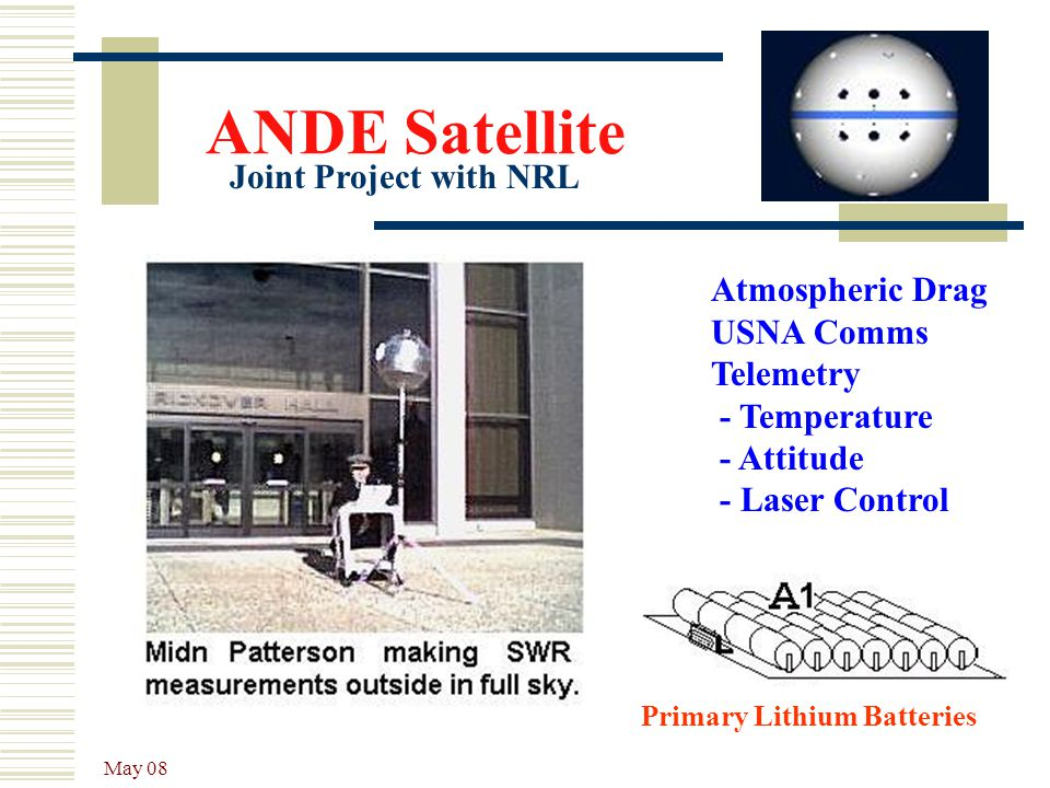 ANDE Satellite Joint Project with NRL Atmospheric Drag USNA Comms