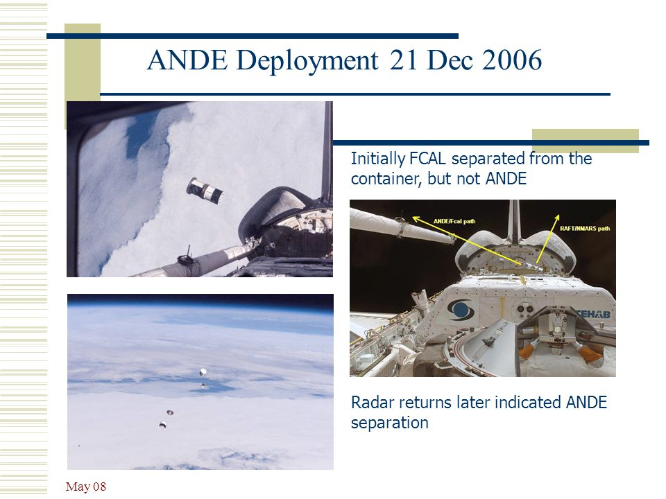 ANDE Deployment 21 Dec 2006 Initially FCAL separated from the container, but not ANDE. Radar returns later indicated ANDE separation.