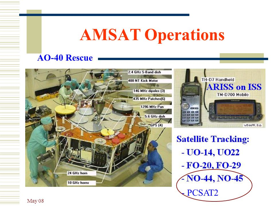 AMSAT Operations AO-40 Rescue - PCSAT2 May 08