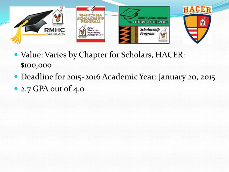 Value: Varies by Chapter for Scholars, HACER: $100,000