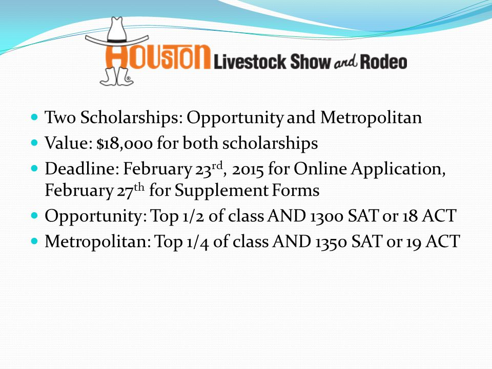Two Scholarships: Opportunity and Metropolitan