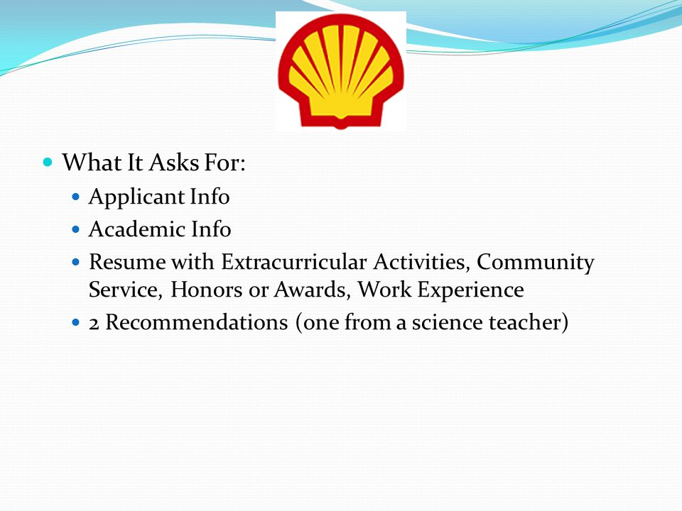 What It Asks For: Applicant Info Academic Info