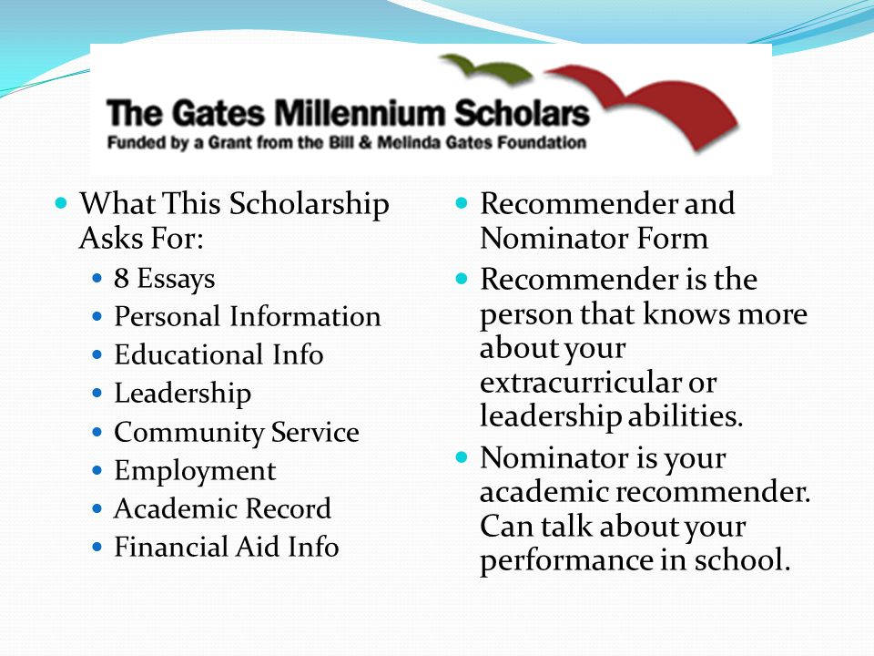 gates millenium scholarship essays Gates millenium scholarship essay tips gates millennium scholarship essay writing tips brandon hayden i 39m a gates millennium scholarship recipient of 2014 i have compiled a few tips that should help your essay writing go a little smoother.