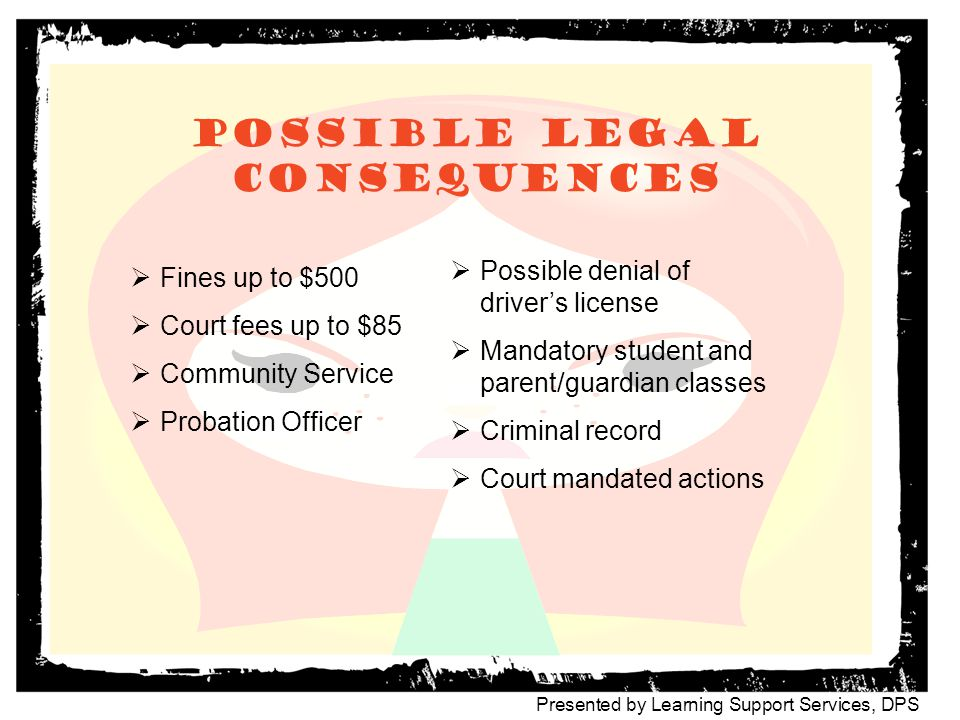 Possible legal consequences