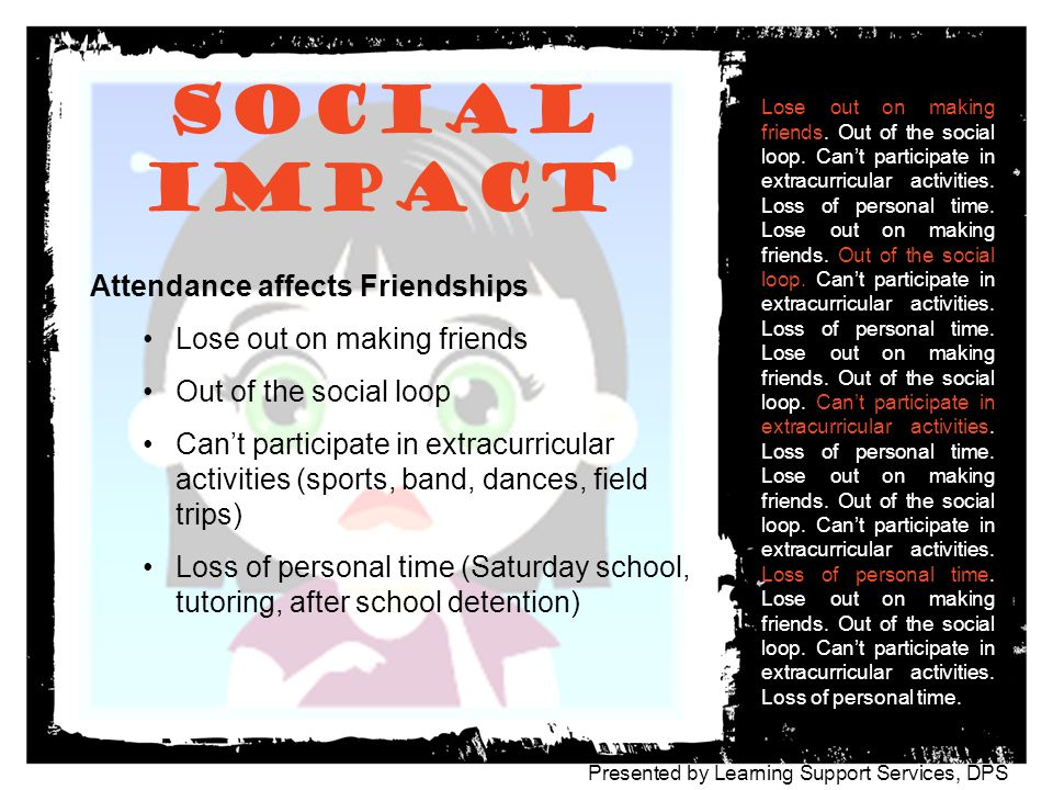 Social Impact Attendance affects Friendships