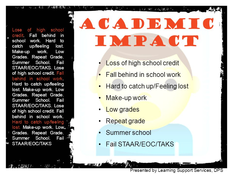 academic Impact Loss of high school credit Fall behind in school work