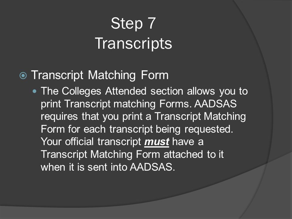 Step 7 Transcripts Transcript Matching Form