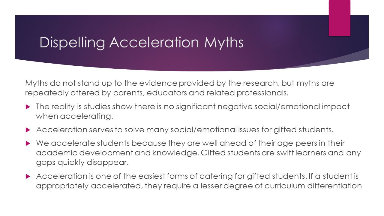 Dispelling Acceleration Myths