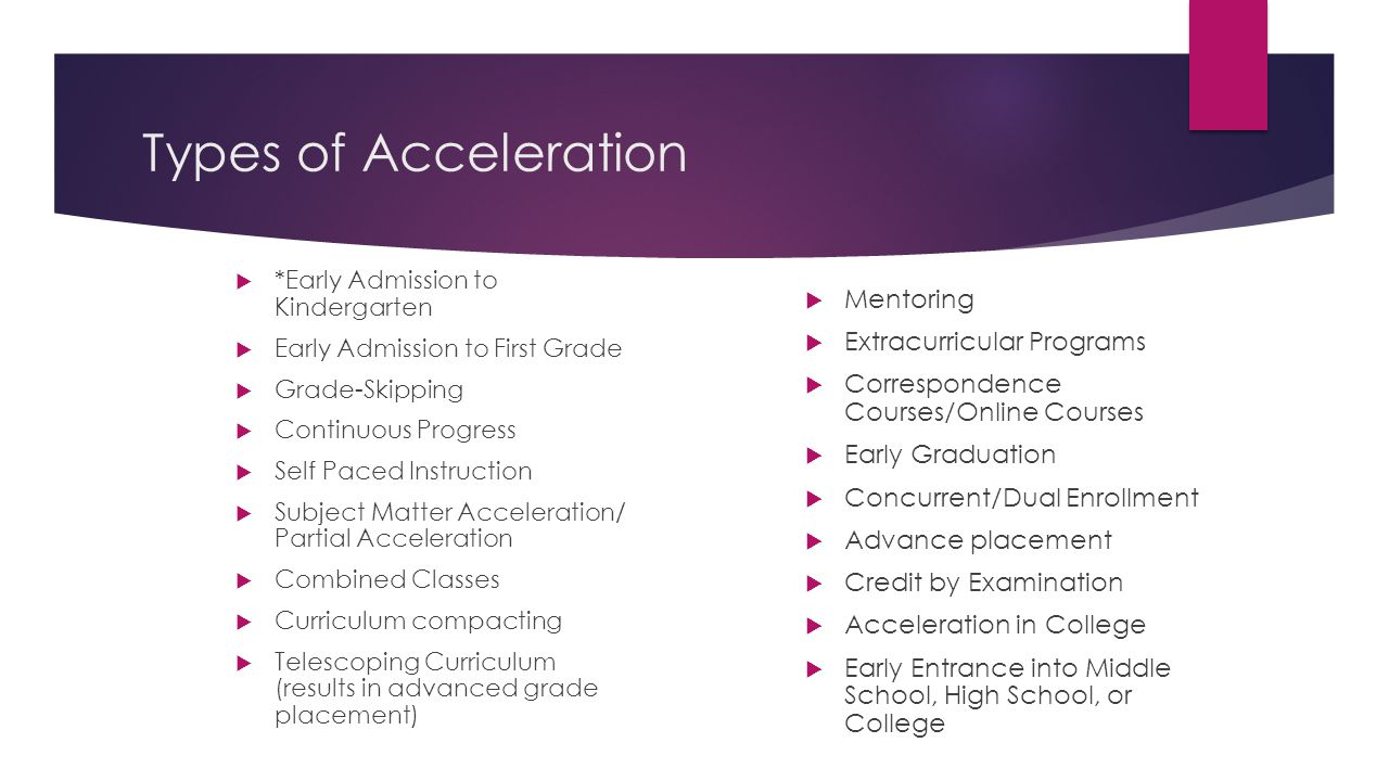 Types of Acceleration Mentoring Extracurricular Programs