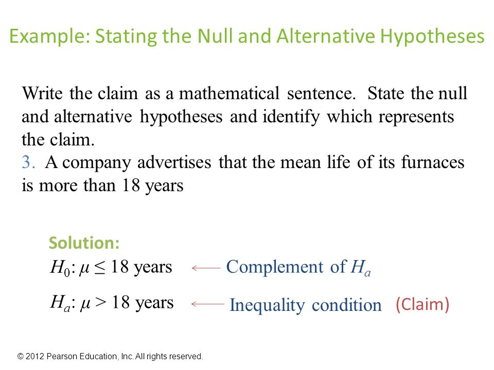 Example: Stating the Null and Alternative Hypotheses