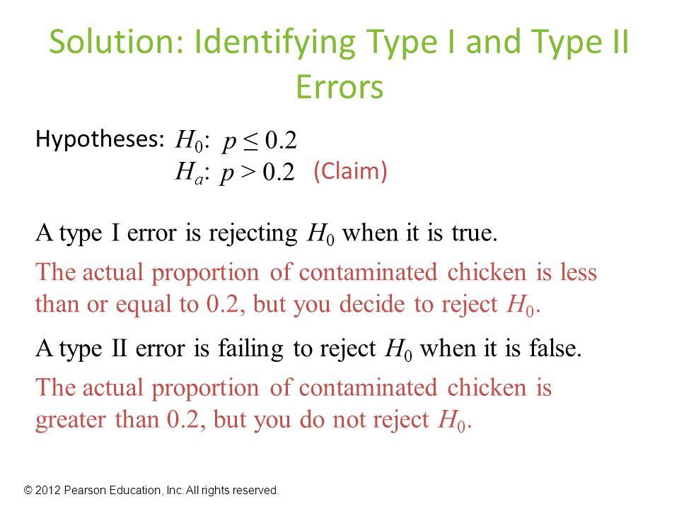 Solution: Identifying Type I and Type II Errors