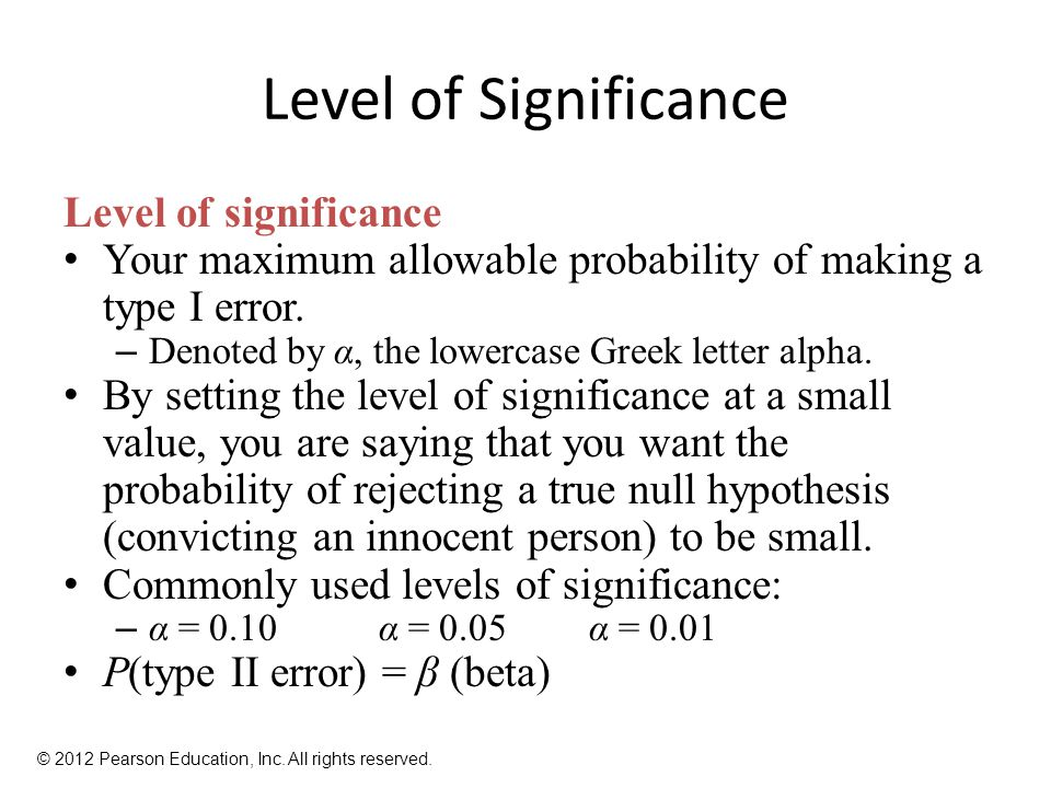 Level of Significance Level of significance