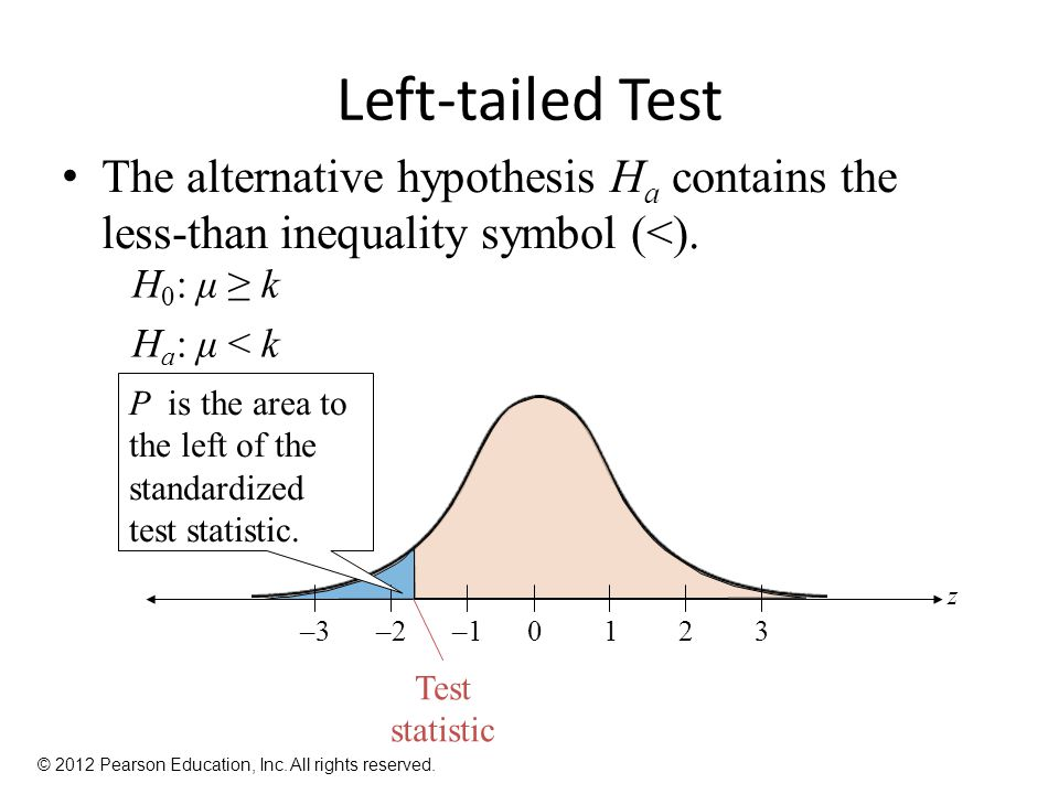Left-tailed Test The alternative hypothesis Ha contains the less-than inequality symbol (<). H0: μ ≥ k.