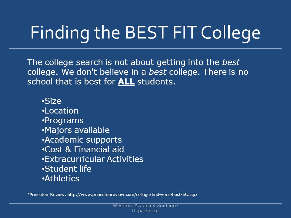 Finding the BEST FIT College