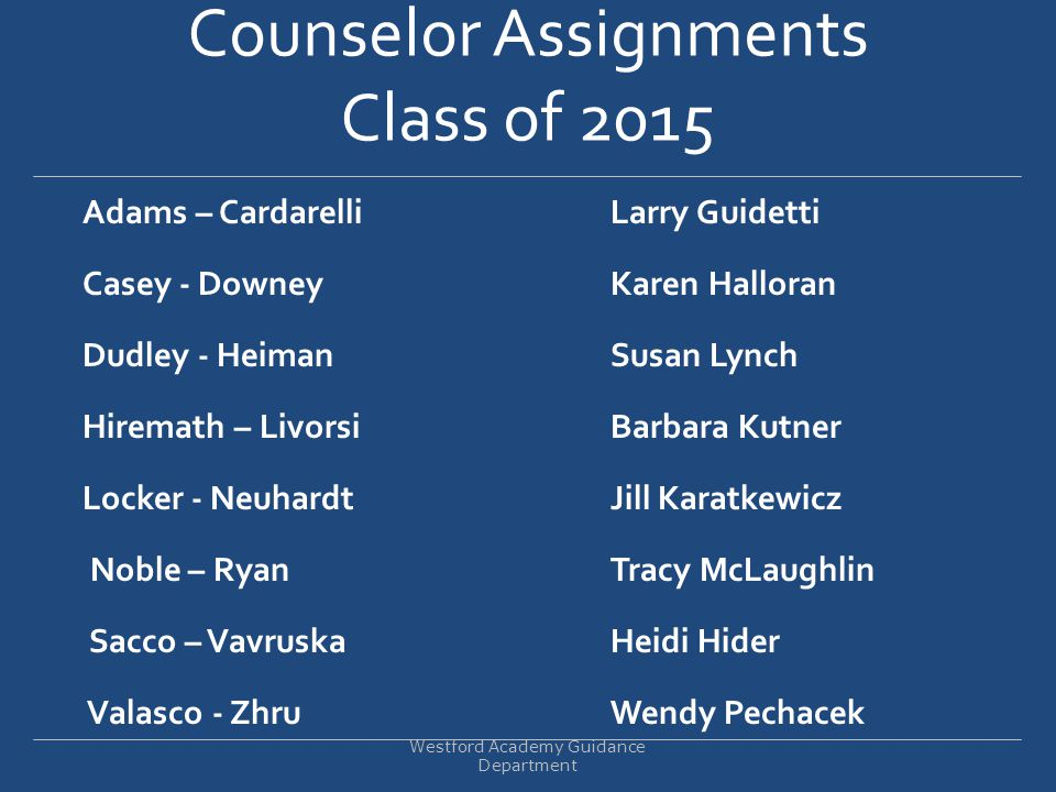 Counselor Assignments Class of 2015