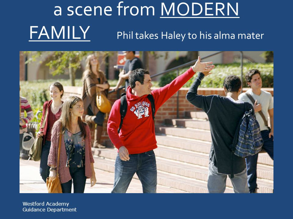 a scene from MODERN FAMILY Phil takes Haley to his alma mater