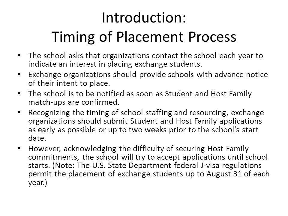 Introduction: Timing of Placement Process