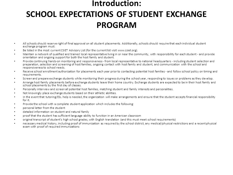 Introduction: SCHOOL EXPECTATIONS OF STUDENT EXCHANGE PROGRAM