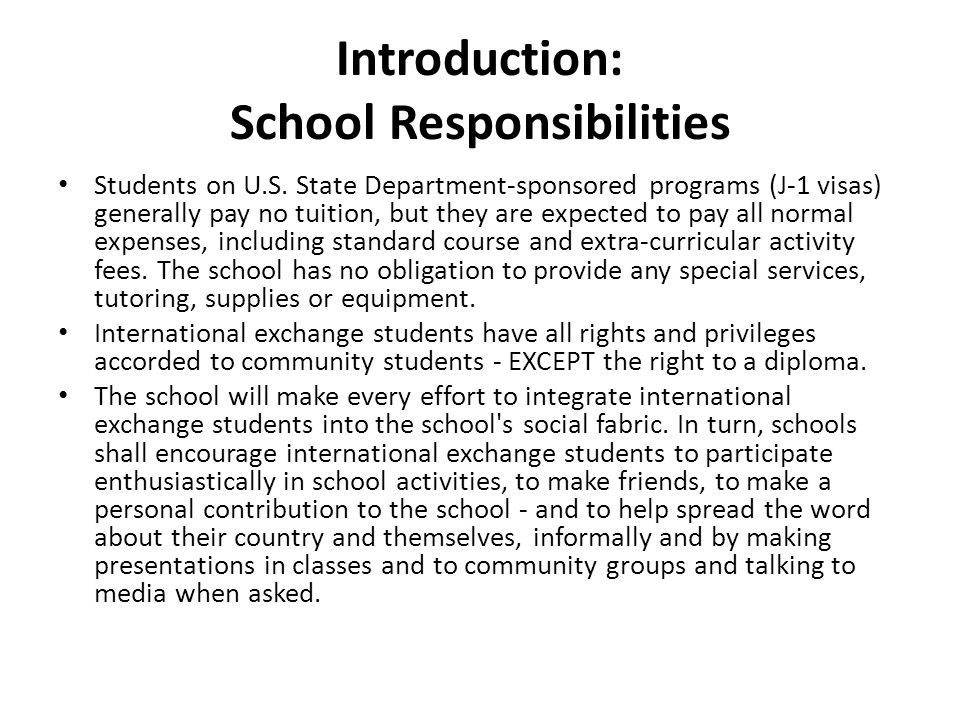 Introduction: School Responsibilities