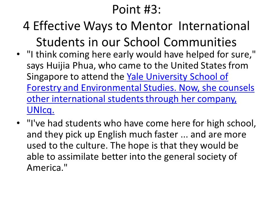 Point #3: 4 Effective Ways to Mentor International Students in our School Communities