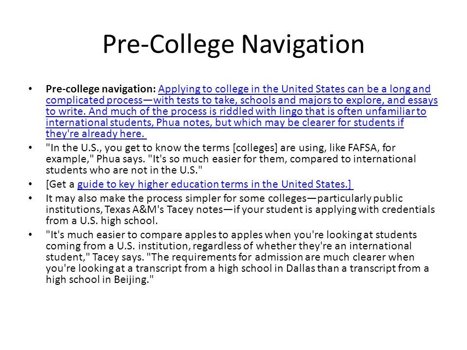 Pre-College Navigation
