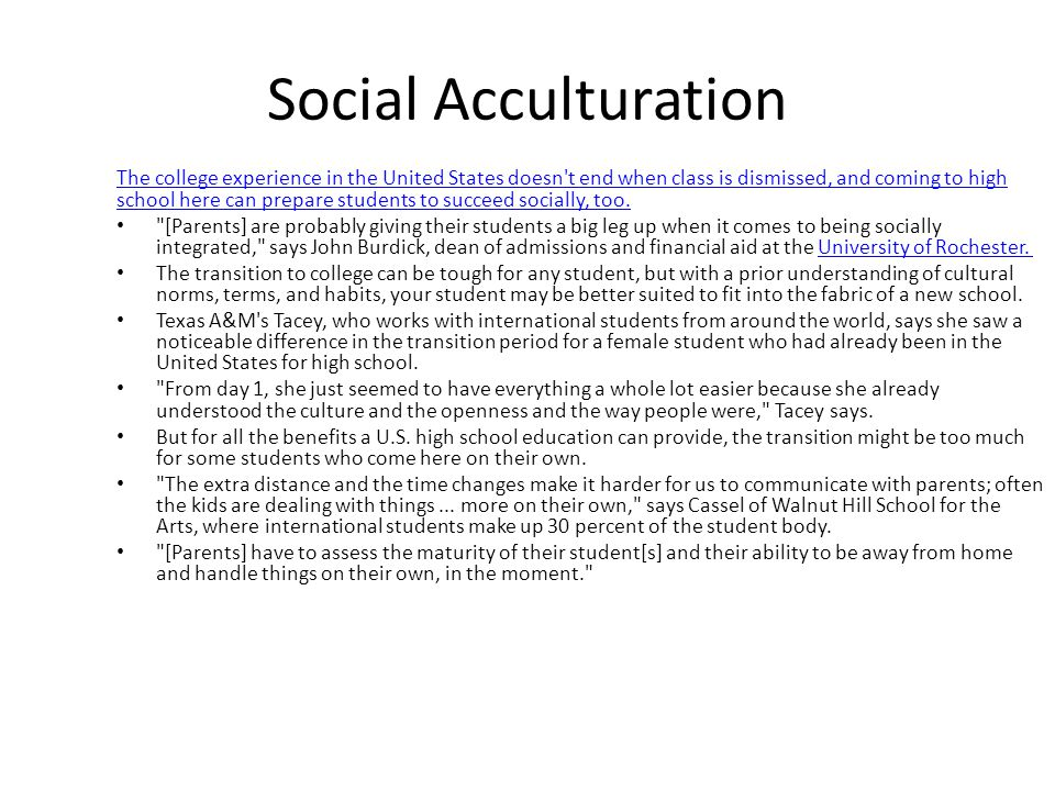 Social Acculturation