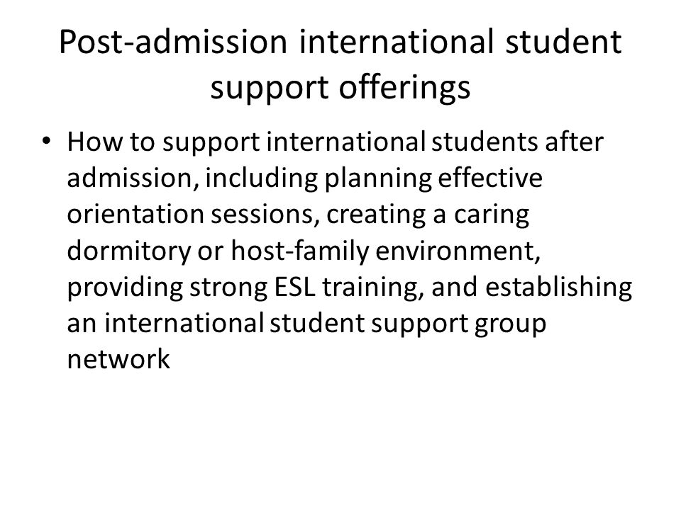 Post-admission international student support offerings
