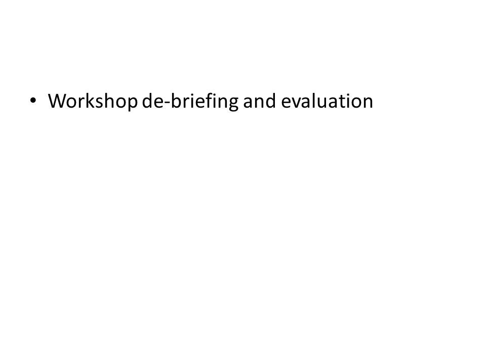 Workshop de-briefing and evaluation