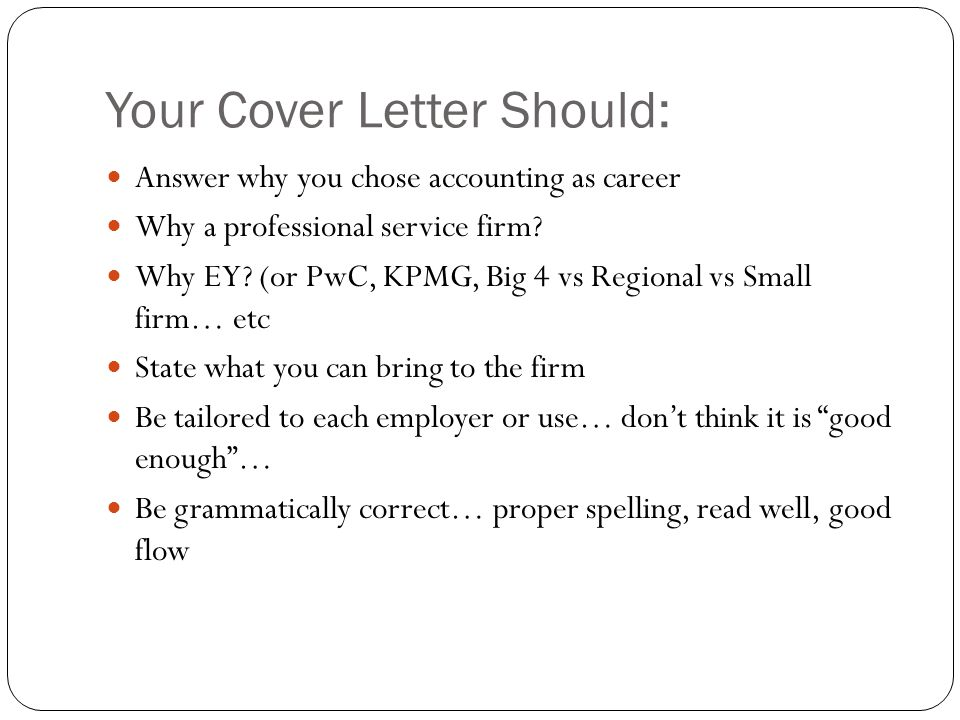 Your Cover Letter Should: