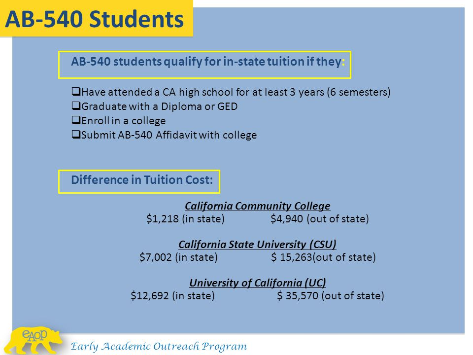 AB-540 Students AB-540 students qualify for in-state tuition if they: