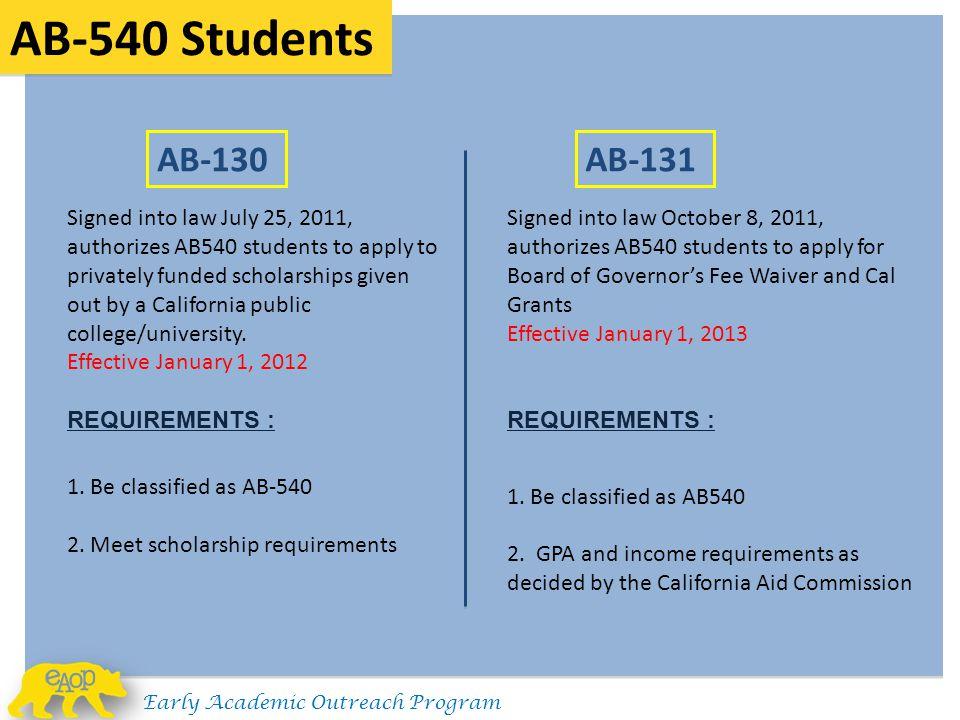 AB-540 Students AB-130. AB-131.