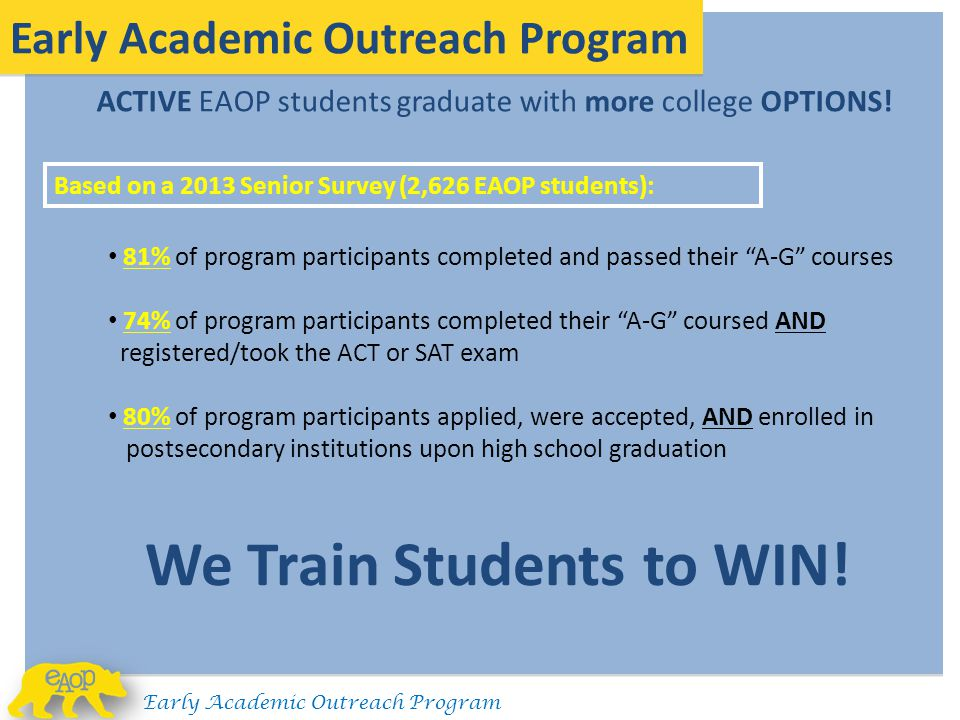ACTIVE EAOP students graduate with more college OPTIONS!