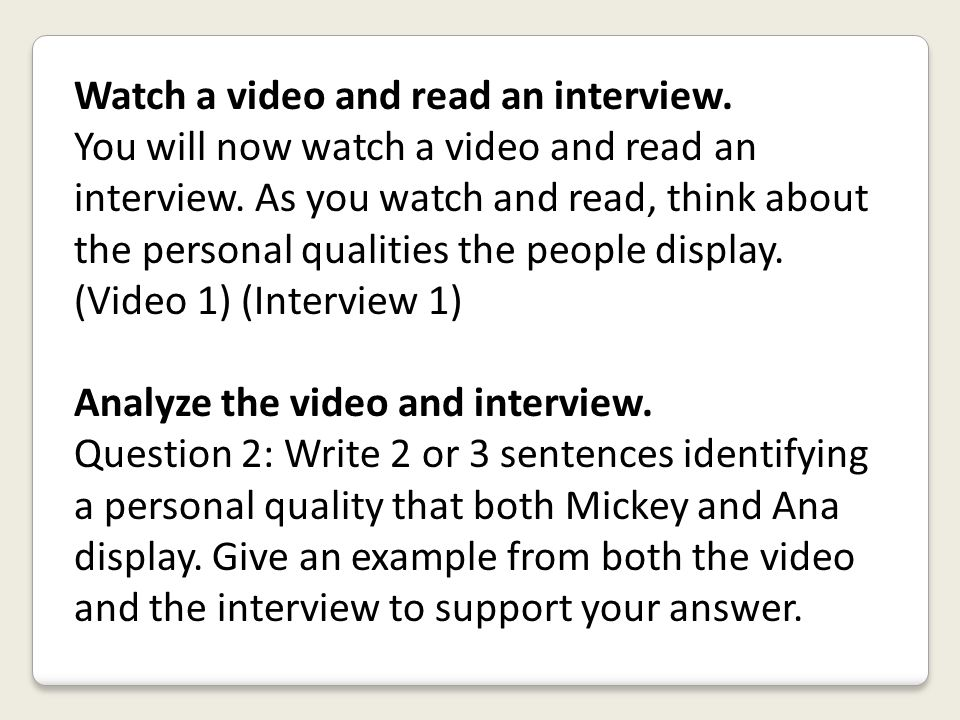 Watch a video and read an interview.
