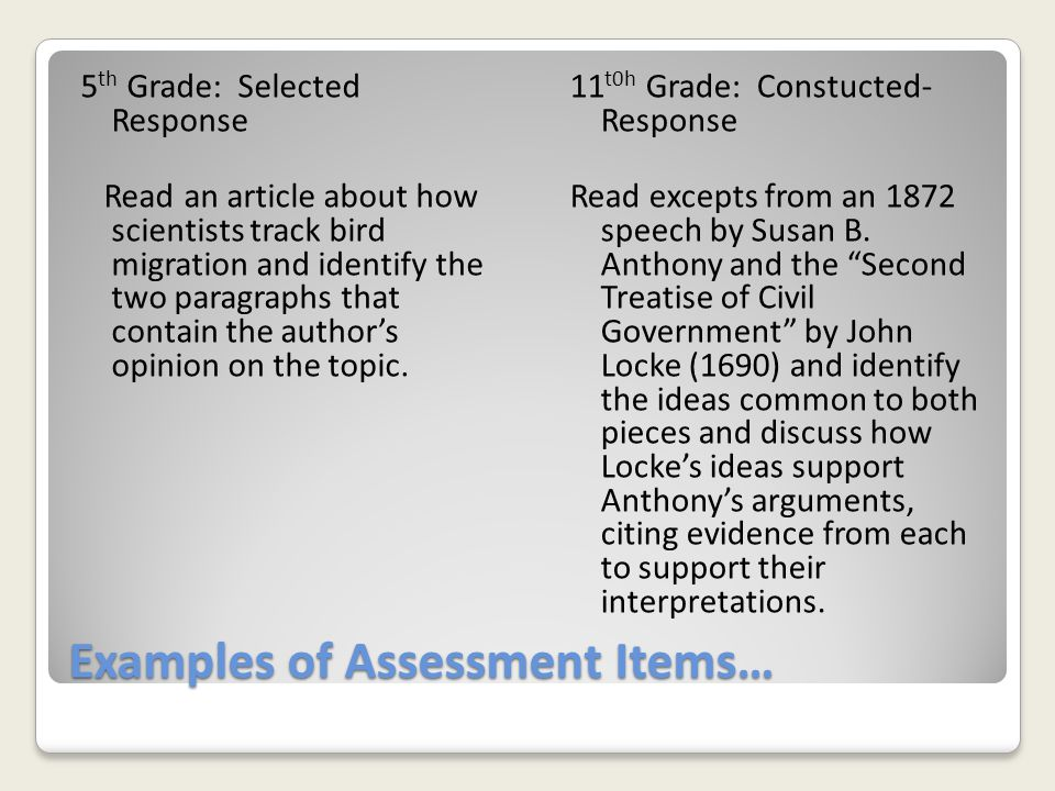 Examples of Assessment Items…