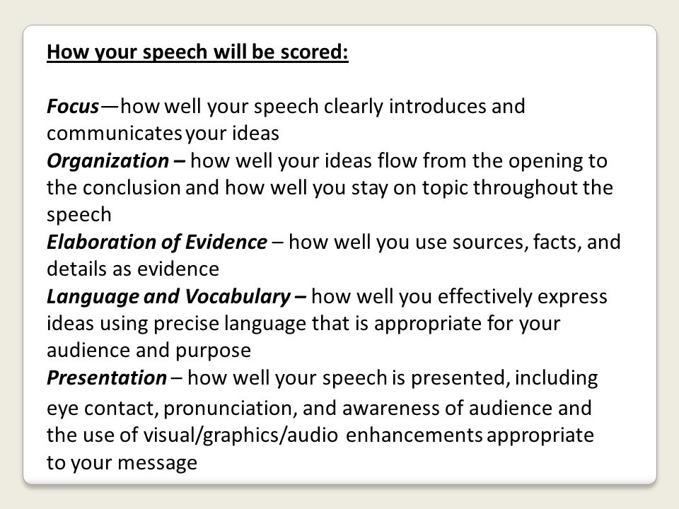 How your speech will be scored: