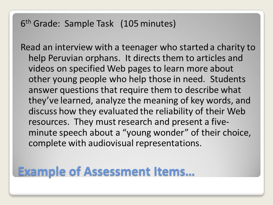Example of Assessment Items…