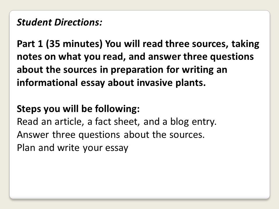 Student Directions: