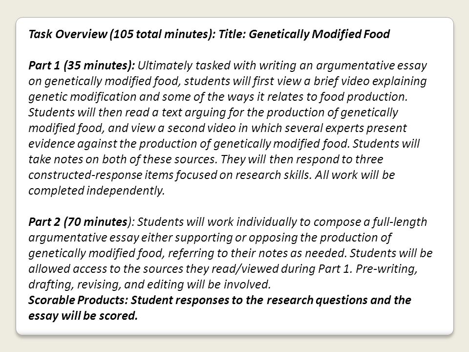 smarter balanced assessment consortium sample items ppt  task overview 105 total minutes title genetically modified food