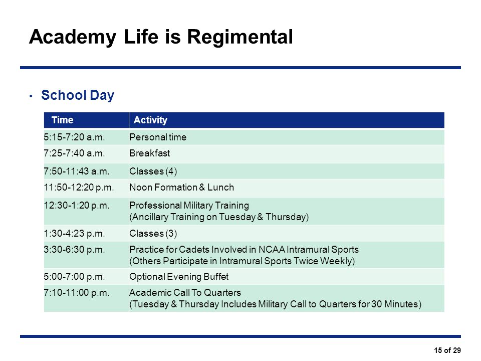 Academy Life is Regimental