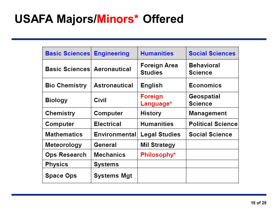 USAFA Majors/Minors* Offered