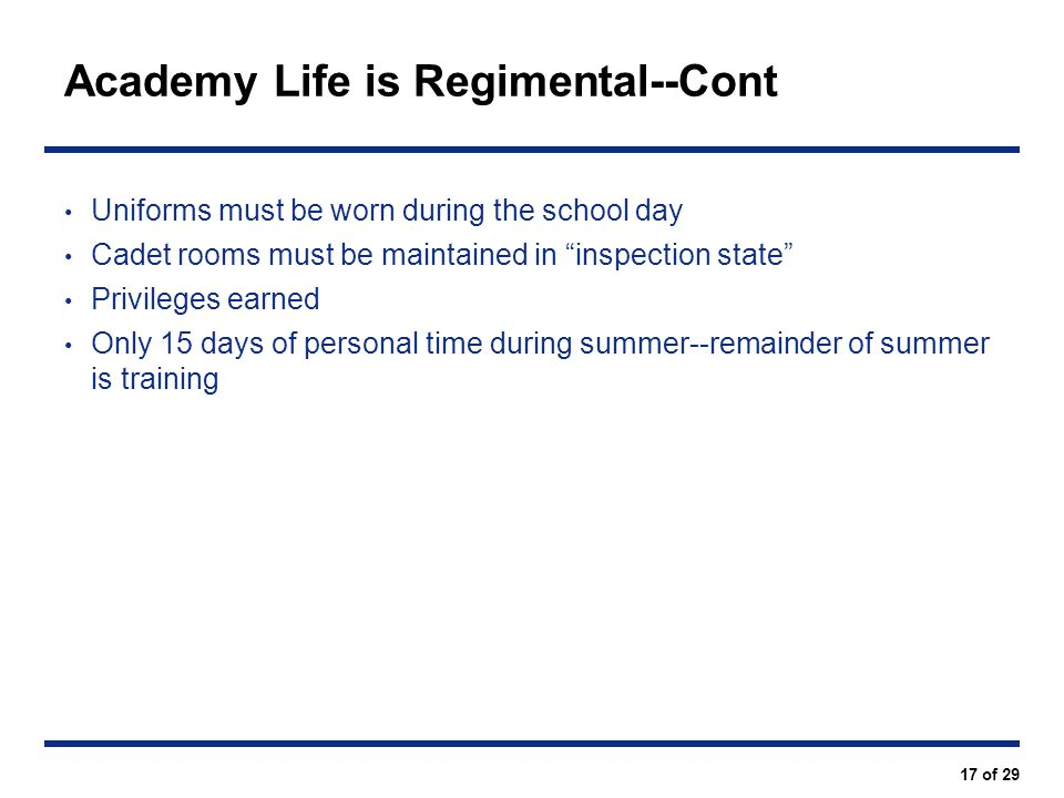 Academy Life is Regimental--Cont