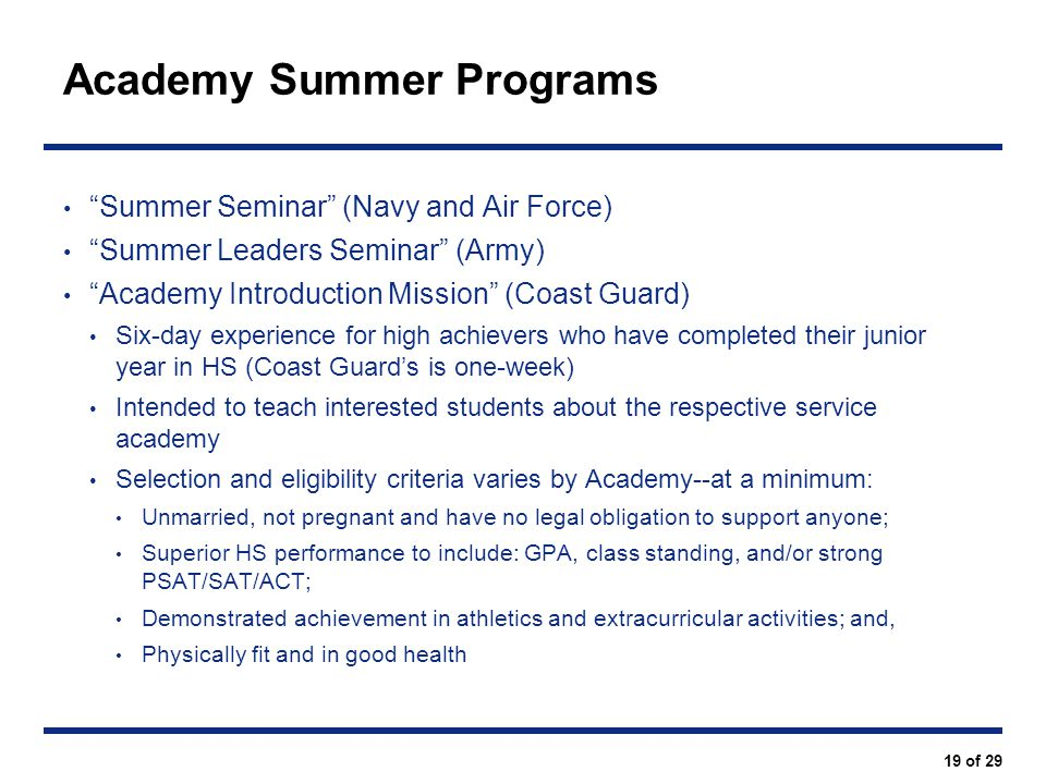 Academy Summer Programs