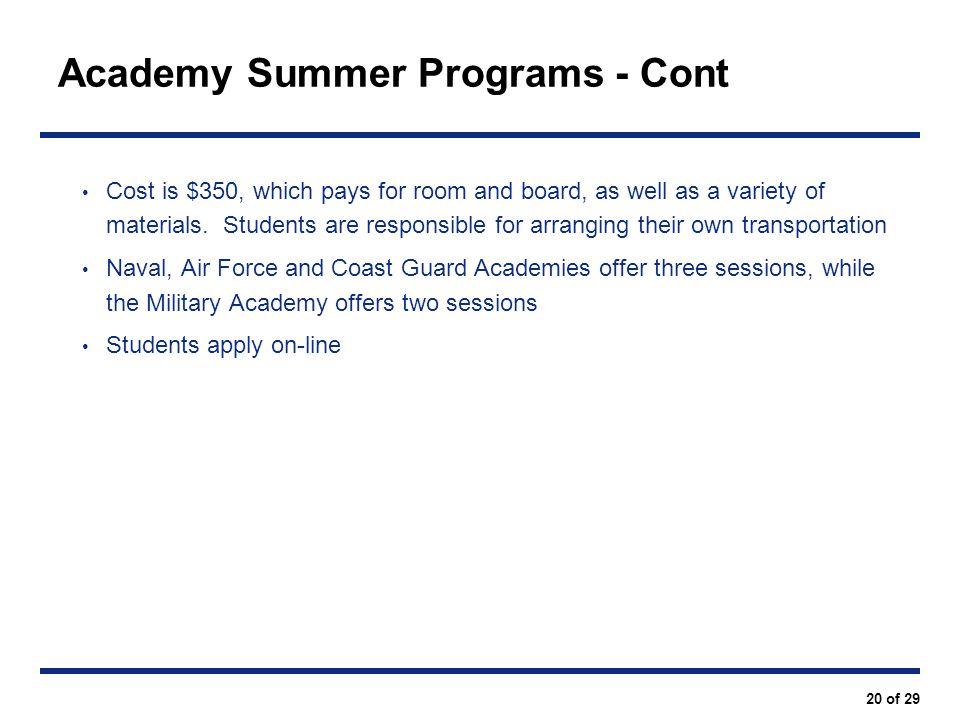 Academy Summer Programs - Cont