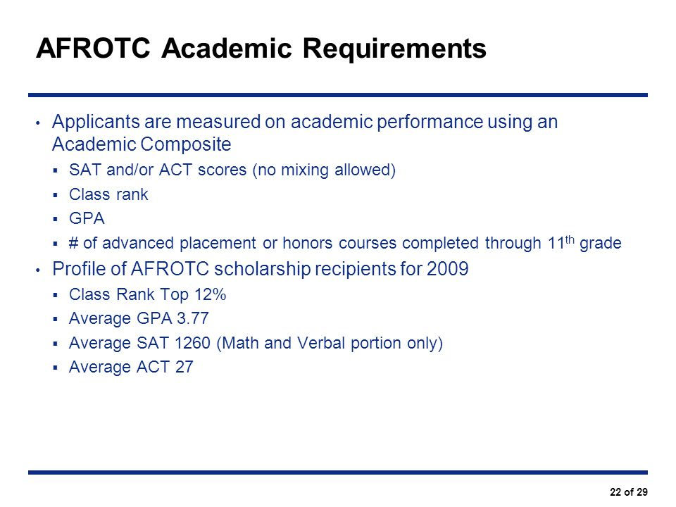 AFROTC Academic Requirements