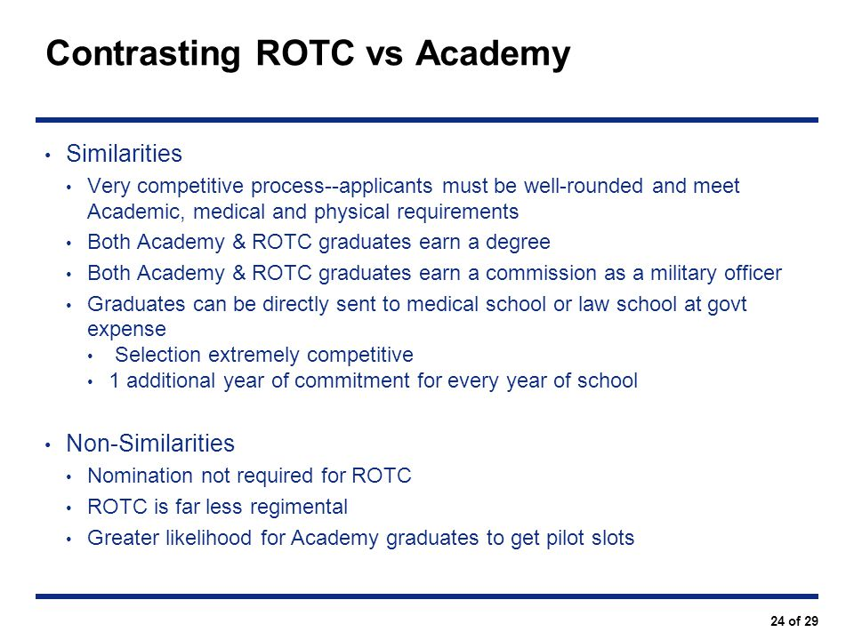 Contrasting ROTC vs Academy
