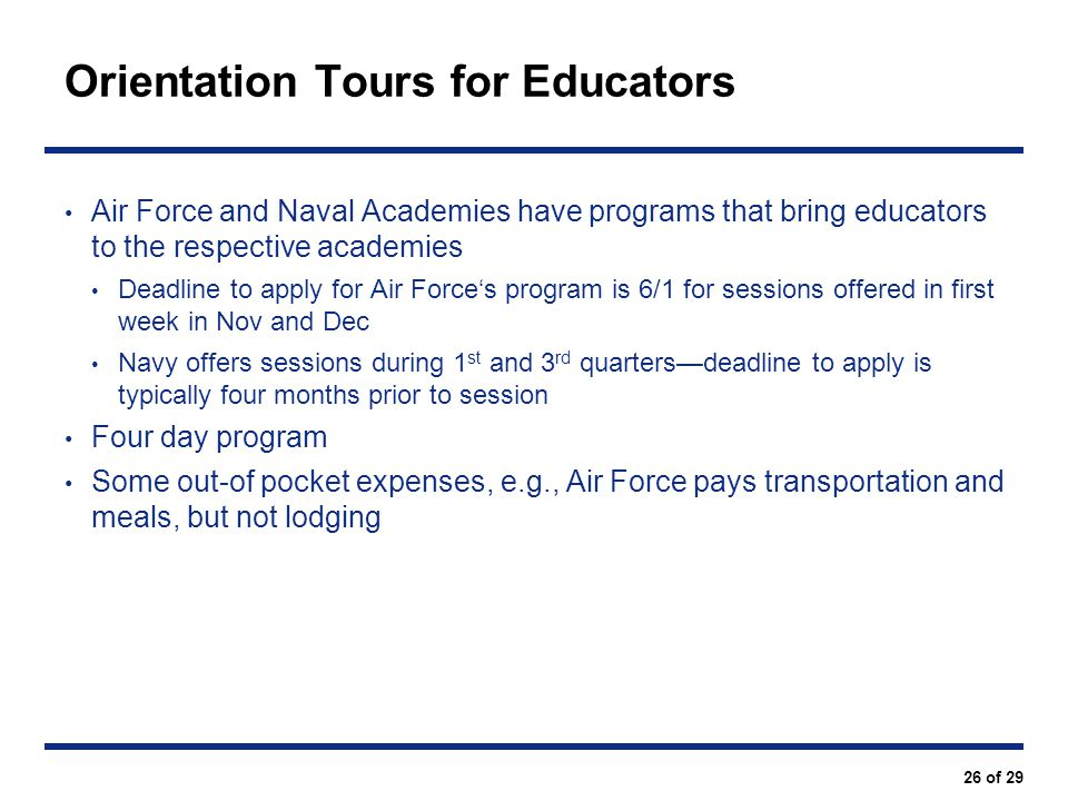 Orientation Tours for Educators