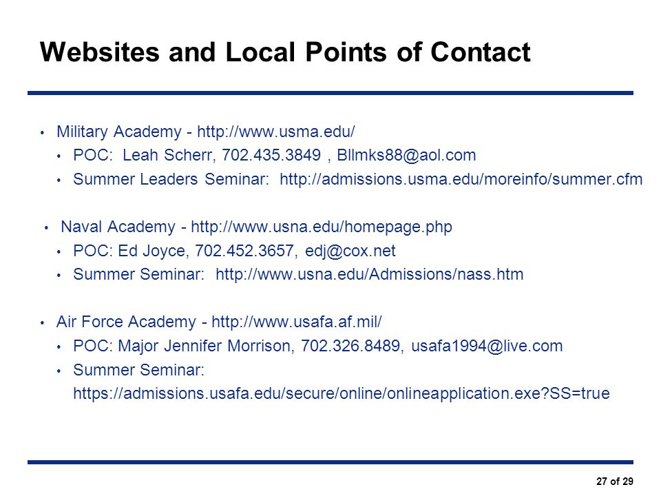 Websites and Local Points of Contact