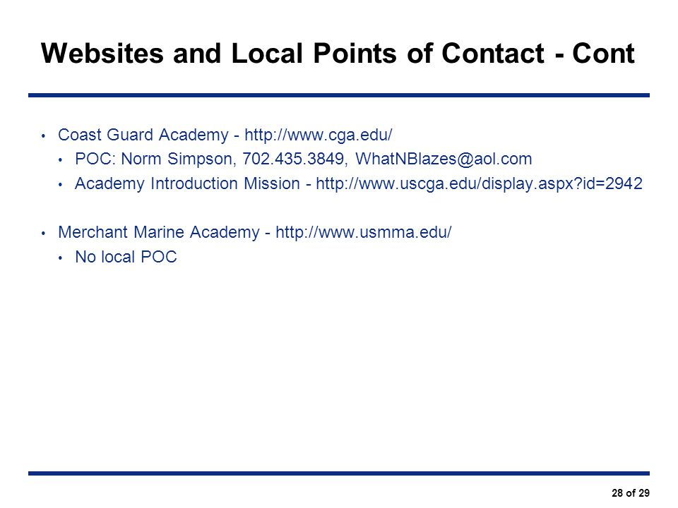 Websites and Local Points of Contact - Cont